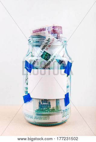 Russian Rubles in the Jar on a Table