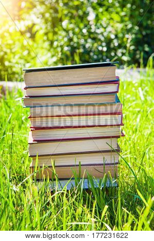 Pile of the Old Books on the Grass