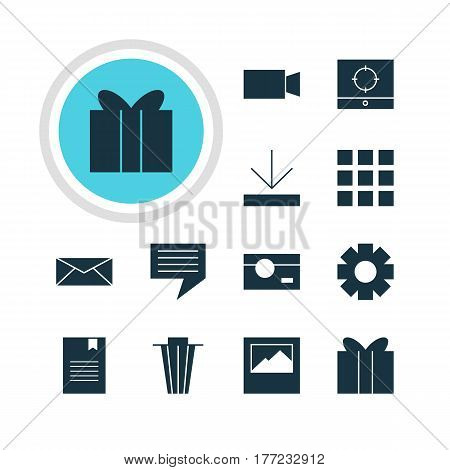 Vector Illustration Of 12 Web Icons. Editable Pack Of Bookmark, Upload, Letter And Other Elements.