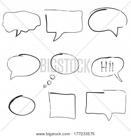 Set of hand drawn bubble speeches. Vector illustration