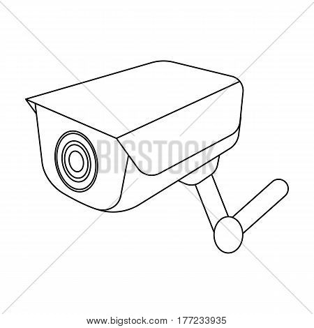 CCTV camera in the prison. The system of monitoring the jailers.Prison single icon in outline style vector symbol stock web illustration.