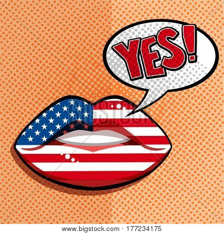 English american language concept. Glamour lips with make-up of the British flag, woman face. Flat design, vector illustration.