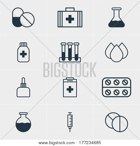 Vector Illustration Of 12 Medical Icons. Editable Pack Of Pills, Vial, Trickle And Other Elements.