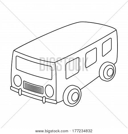 Blue bus for the transportation of a small number of people around the city and the village.Transport single icon in outline style vector symbol stock web illustration.