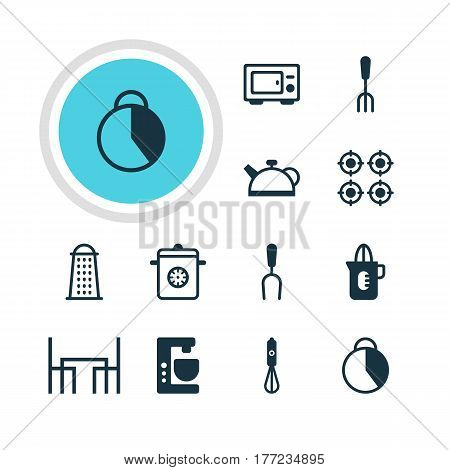 Vector Illustration Of 12 Cooking Icons. Editable Pack Of Dinner Table, Teakettle, Barbecue Tool And Other Elements.