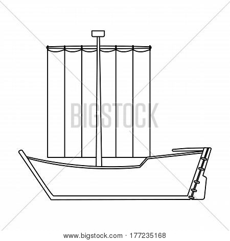 Sailboat. The boat sails from the wind. Water transport for skating.Transport single icon in outline style vector symbol stock web illustration.