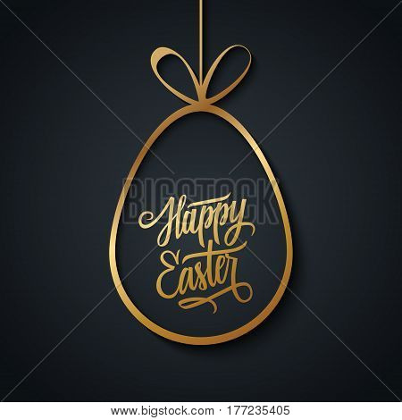Greeting card with golden easter egg and handwritten wishes of a Happy Easter on black background. Vector illustration.