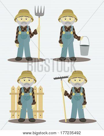 Farmer set. Village or countryside human. Vector illustration, EPS 10
