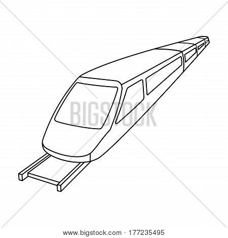 High speed train for transporting people over long distances. railway transport.Transport single icon in outline style vector symbol stock web illustration.