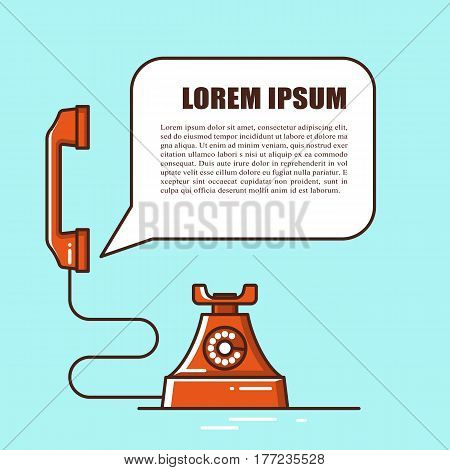 Retro phone line illustration with space for text. Communication background concept. Connection message support. Technology telephone contact