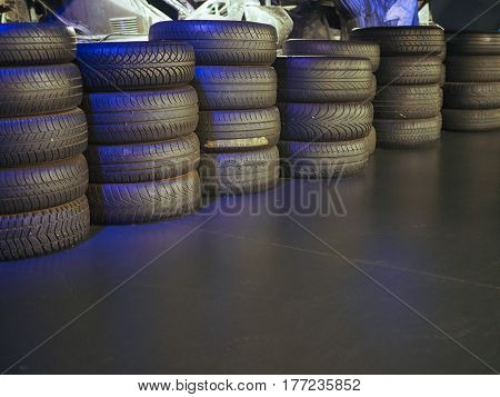 Old Tires At Car Museum In Turin