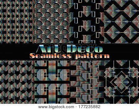 Art Deco Seamless Pattern. Set Retro Backgrounds. Style 1920's, 1930's. Vector Illustration.