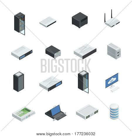 Datacenter server cloud computing isometric icons set with isolated images of hardware networking equipment infrastructure server racks vector illustration