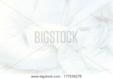 Soft white bed sheets background. Luxary Texture