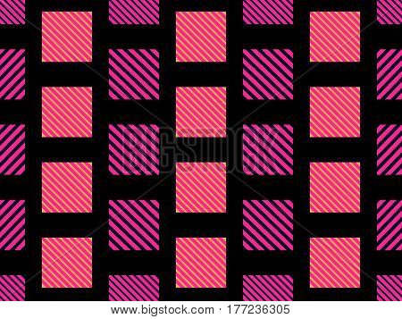 Checkered Seamless Pattern With Diagonal Stripes For Fabrics And Printing. Vector Illustration