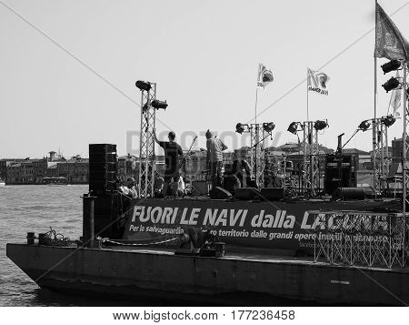 Protest Event In Venice In Black And White