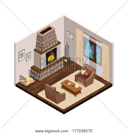 Lounge interior with classic fireplace brown comfortable furniture on wooden floor curtains on window isometric vector illustration