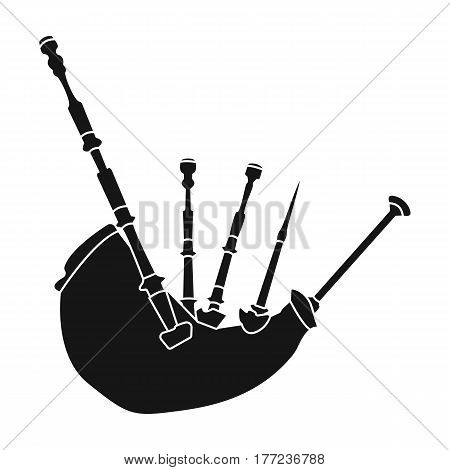 Bagpipes from a cow s stomach.The national musical instrument of Scotland.The Symbol Of Scotland.Scotland single icon in black style vector symbol stock web illustration.