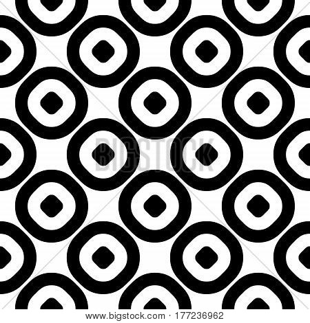 Vector seamless pattern, monochrome polka dot texture. Simple geometric background with staggered perforated circles, black & white abstract design. Element for prints, decor, furniture, textile, digital, web, fabric, cloth, linens, interior design