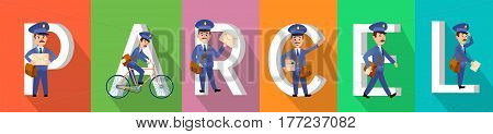 PARCEL colourful banner with postman character set in service. Vector illustration of fast and save delivery by friendly mailmen riding bike, carrying envelopes and parcels in front of huge letters