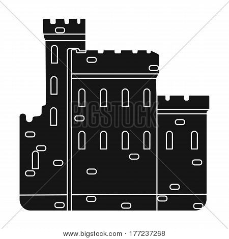 Concrete castle with peaks in Scotland.Fortification of the ancient Scots.Scotland single icon in black style vector symbol stock web illustration.
