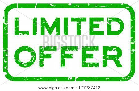 Grunge green limited offer square seal stamp on white background