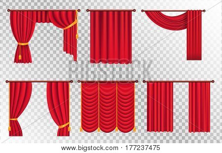 Heavy drapes of red fabric with gold tie back ribbons, tassels and lambrequin vectors set on transparet background. Crtains on cornice illustration for window dressing or interior design concept