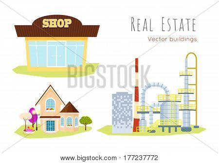 Real estate vector buildings on white. Shop store, family house with trees and huge plant. Collection of three buildings in cartoon style flat design. Process of selling, buying purchase illustration
