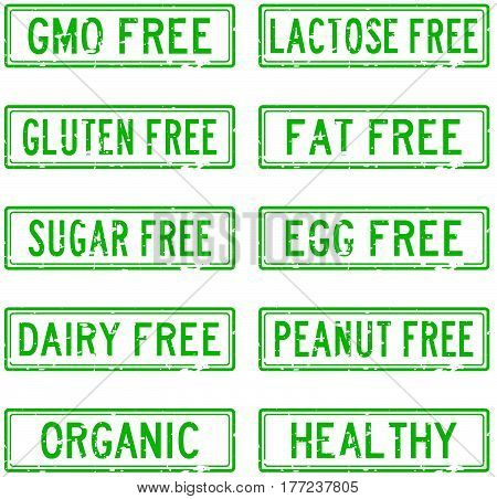 Set of grunge green square rubber stamp about food allergen and safety