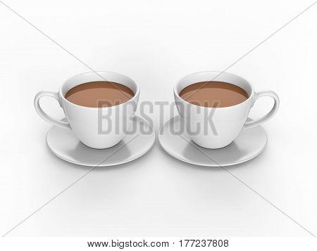 3D illustration two white cups and saucers with tea coffee on a white background