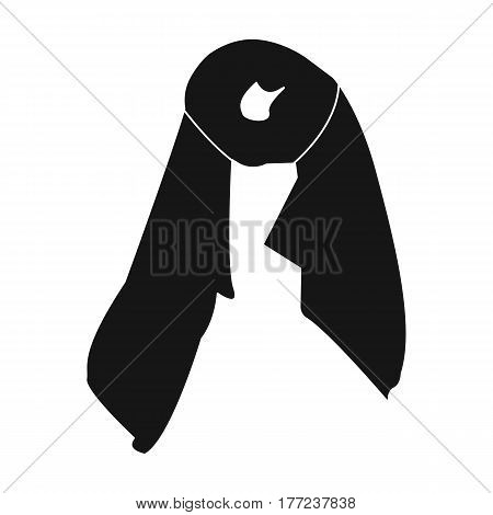 Red silk woman s scarf. Female an accessory scarf. Woman clothes single icon in black style vector symbol stock web illustration.