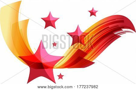 Red and yellow striped ribbon with red stars isolated on white background