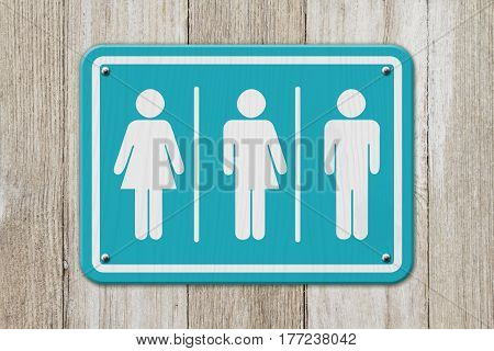 All inclusive transgender sign Teal and white sign with a woman a transgender and man symbol on weathered wood 3D Illustration