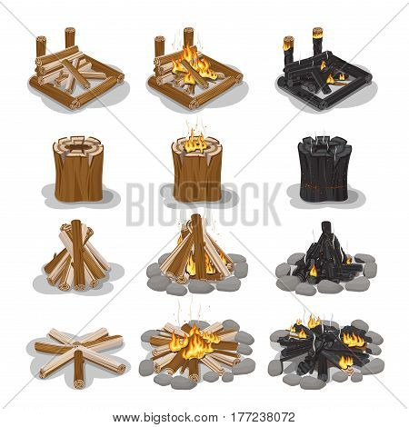 Tourist campfire types collection with flame on white. Vector set of fireplace of firewood and stumps in flat style. Bonfire making steps, without flame, with fire and in black color with sparks