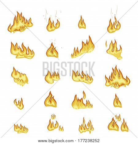 Fire flame signs collection on white background. Hot explosive yellow-orange elements for camp firewood. Vector poster in flat design of burning wavy flame with sparks signs realistic design