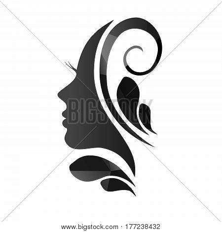 Beautiful female face silhouette in profile illustration