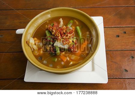 Thai Cuisine Spicy Soup Curry With Many Vegetable And Eggs Of Giant Sea Catfish