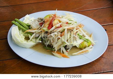 Som Tum Or Thai Food Fruit Spicy Green Papaya Salad With Blue Crab