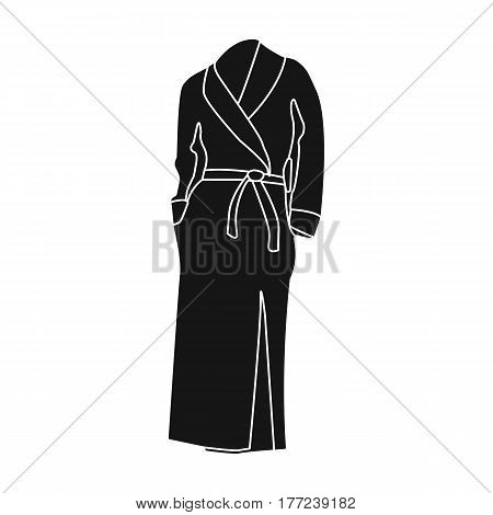 Pink lady s gown after bath. Home clothes for women. Woman clothes single icon in black style vector symbol stock web illustration.