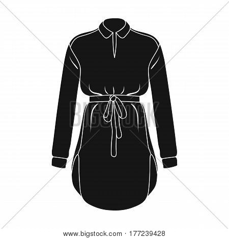 Women s shirt with a belt for housework. A dirty white apron for women.Women clothing single icon in black style vector symbol stock web illustration.