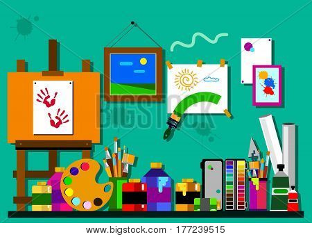 color paint brush vector abstract art easel