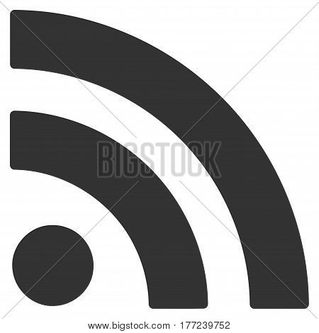 Rss vector icon. Flat gray symbol. Pictogram is isolated on a white background. Designed for web and software interfaces.