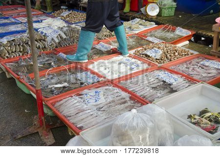 Thai People And Travellers Buy Seafood From Vendors Seafood Shop At Ang Sila Jetty