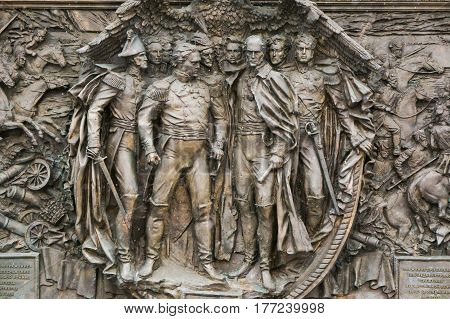 Moscow, Russia - February 1, 2017: Fragment of the stele dedicated to the Russian war of 1812 depicting a historical event