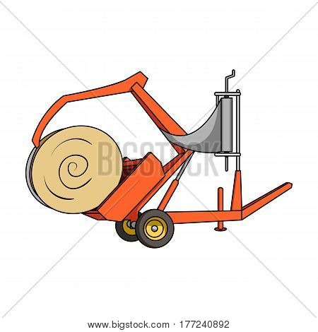 Modern agricultural machinery for  of hay and rolling circles.Agricultural Machinery single icon in cartoon style vector symbol stock web illustration.