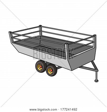 Grey trailer on wheels for transportation of farm animals.Agricultural Machinery single icon in cartoon style vector symbol stock web illustration.