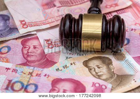 Yuan On Wooden Hammer . Close Up.
