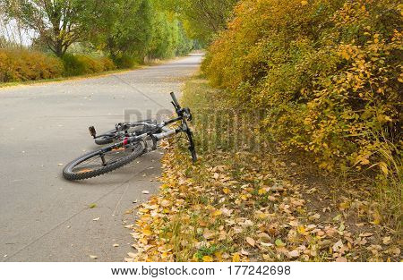 Bicycle on a roadside having a short relaxation after hard journey.