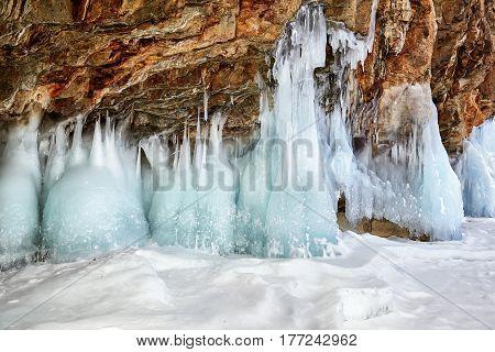 Splash Ice On Coastal Rock