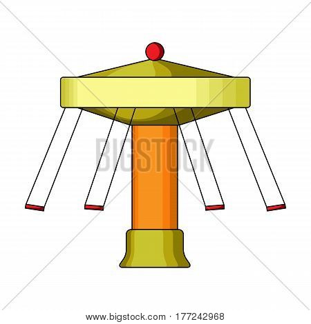 Carousel with seats on chains for children. Amusement park.Amusement park single icon in cartoon style vector symbol stock web illustration.